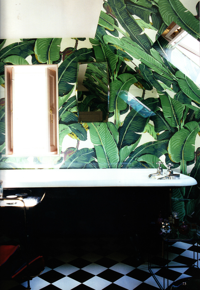BATHROOM PALM LEAVES